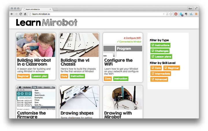 Mirobot Learning Site
